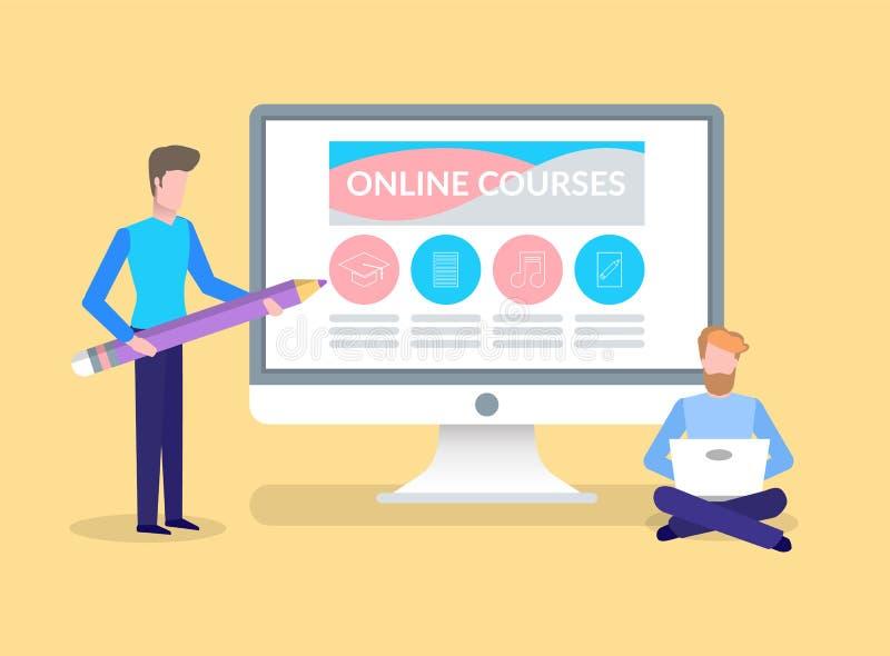 On-line-Kurse, Training des Studenten durch männlichen Tutor vektor abbildung