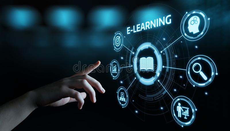 On-line-Kurskonzept E-Learning-Bildungs-Internet-Technologie Webinar stockfotos