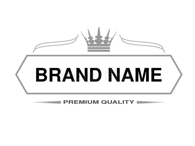 Line Label Rectangle Frame For Brand Name With Symbol Of Crown