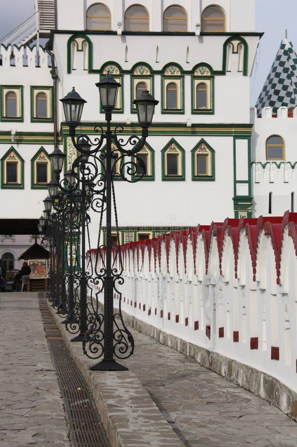 Line of lanterns. Kremlin in Izmajlovo. Moscow. stock photos