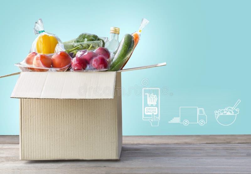 On-line-Lebensmittelgesch?ftkonzept Einkaufsauftragson-line-Bestandteilnahrung f?r an kochen und Paketkasten mit Ikonenmedien auf stockbilder