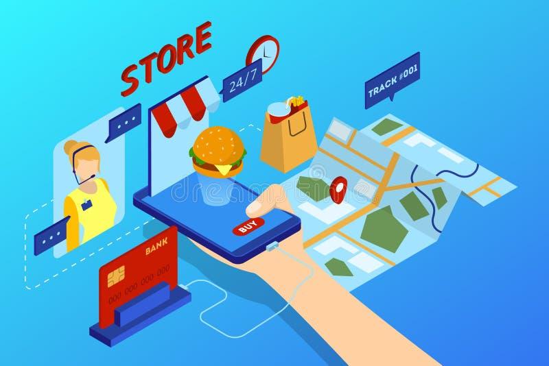 On-line-Lebensmittellieferungskonzept Nahrungsmittelauftrag im Internet stock abbildung