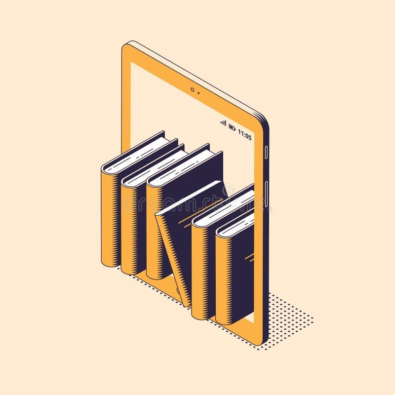 On-line-Lese- oder der Ausbildungisometrische Vektorillustration - Stapel Papierbücher, die nach innen von der digitalen Tablette vektor abbildung