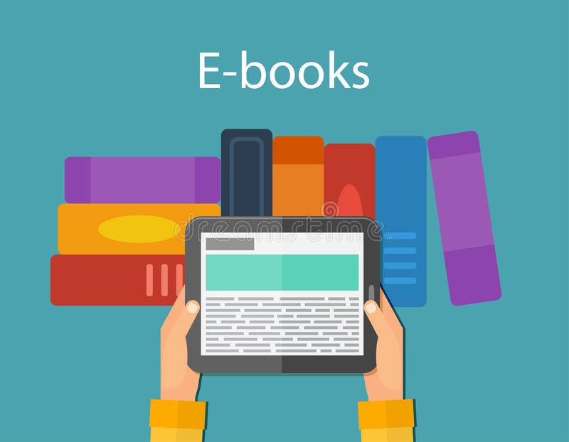 On-line-Lesung und EBook Tragbare Geräte vektor abbildung