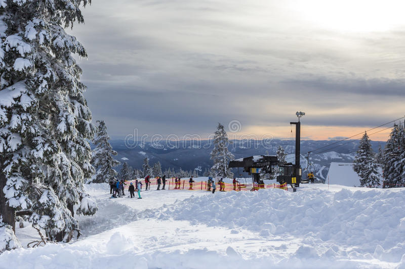 Line for lift at Mt.Hood stock photos
