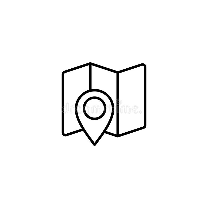 Location Line Icon On A White Background Stock Vector