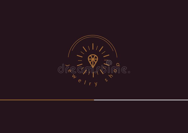 Line logo, a diamond in a frame, for jewelery shop. Logo, a diamond in a frame, for jewelery shop vector illustration