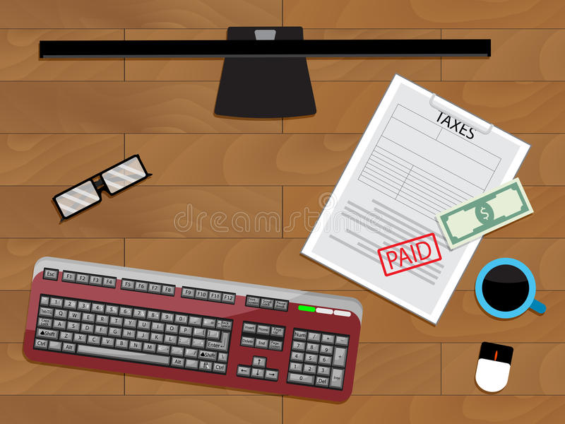 On-line-Lohnsteuer finanziell stock abbildung