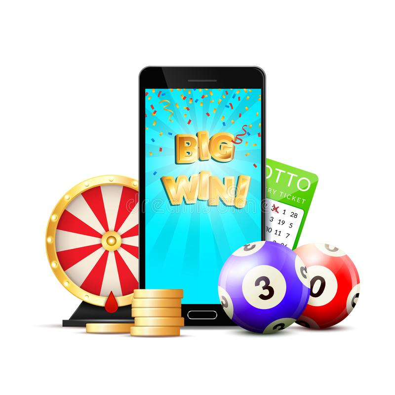 On-line-Lotterie-Kasino-bunte Zusammensetzung stock abbildung