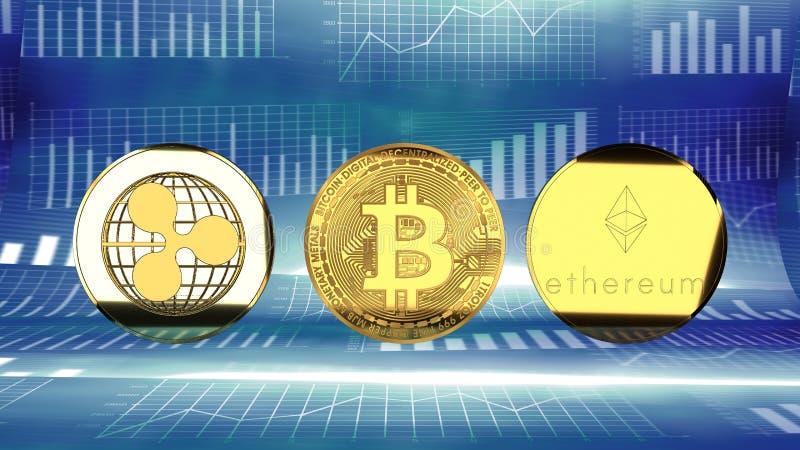 On-line-Münzen, Schlüsselwährungen, Kräuselung, ethereum und bitcoin vektor abbildung