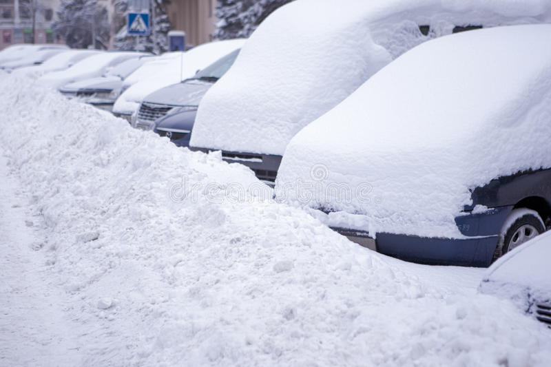 Download Line Made Of Vehicles Covered With Snow Stock Image - Image: 28831985