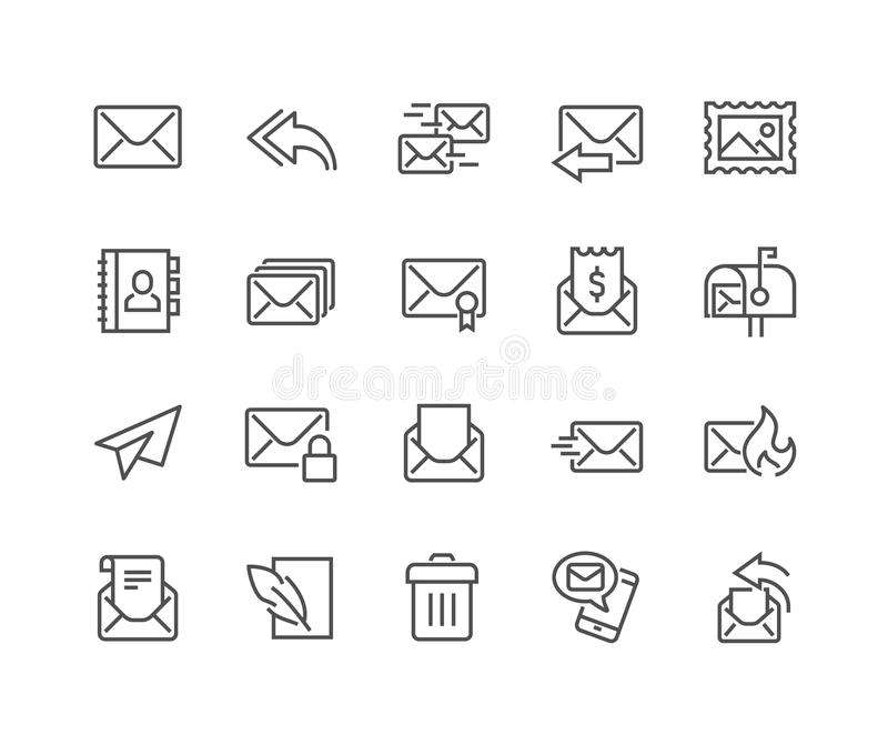 Line Mail Icons stock illustration