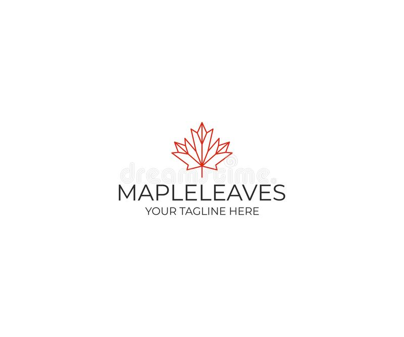 Line maple leaf logo template. Geometric autumn leaf vector design vector illustration