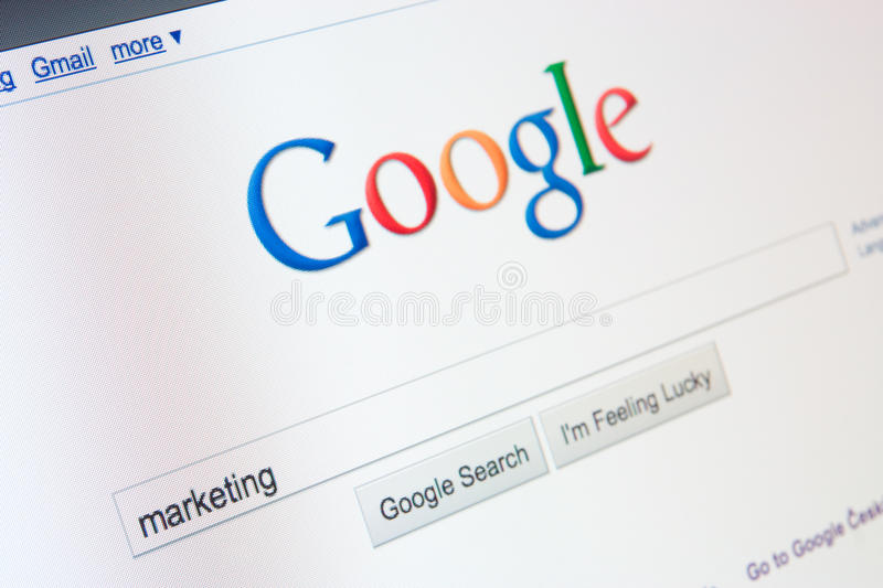 On-line marketing with Google. Marketing word in Google search form royalty free stock image