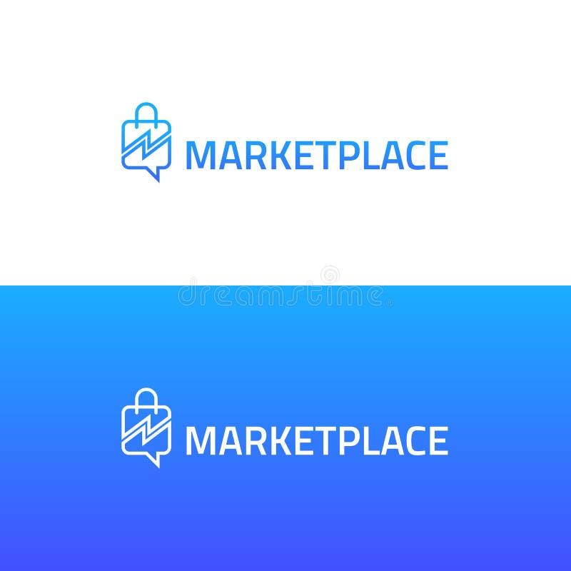 On-line-Marktlogo für E-Commerce stock abbildung