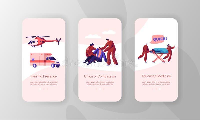 On-line-Medizin-Stützidee bewegliche App-Seite an Bord des Schirm-Satzes Gesundheitswesentechnologie Krankenwagen-Auto und Hubsch stock abbildung
