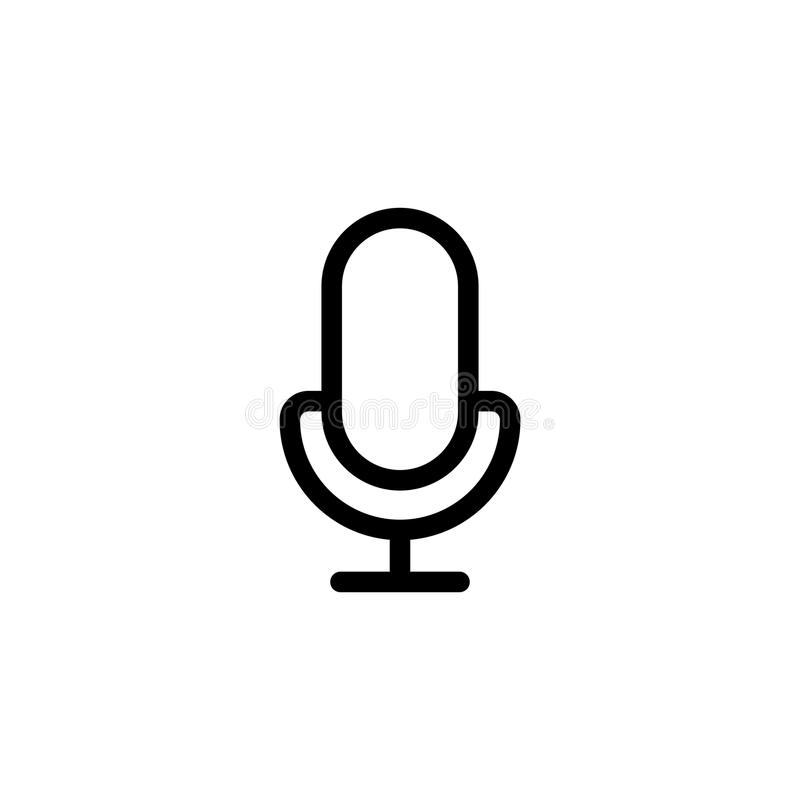 Line microphone, mic icon on white background. Thin line microphone, mic icon on white background stock illustration