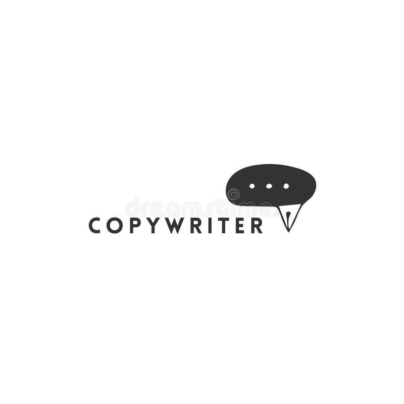 On-line-Mitteilungszeichen mit einer Stiftspitze Gezeichnete Logoschablone des Vektors Hand Schreiben, Copyright und Verlags- The lizenzfreie abbildung