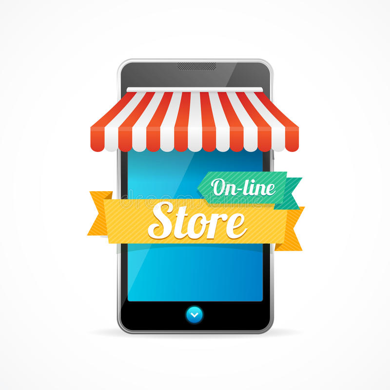 On-line mobilt lager för telefon vektor vektor illustrationer
