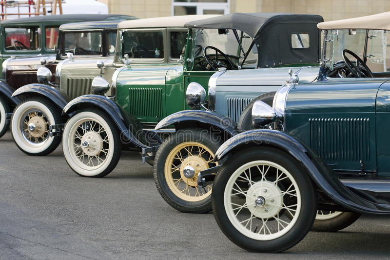 Line of Model A Fords royalty free stock images