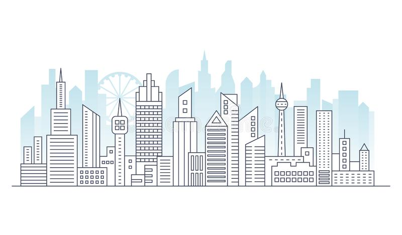 Line modern urban big city panorama with color building on background. Outline stroke cityscape skyscrapers vector stock illustration