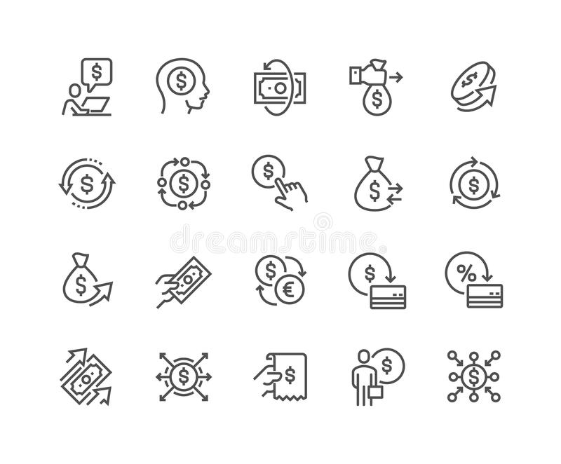 Line Money Movement Icons vector illustration