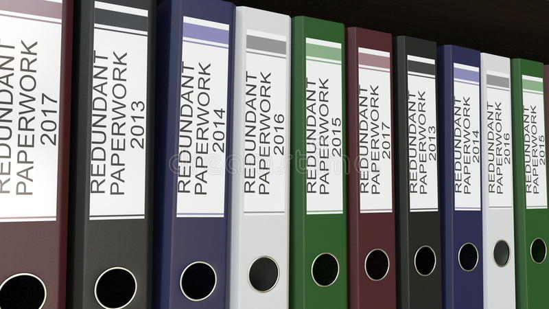 Line of multicolor office binders with Redundant paperwork tags different years 3D rendering. Line of multicolor office binders with Redundant paperwork tags royalty free stock photos