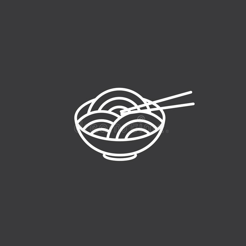 Line noodles black icon on white background vector illustration
