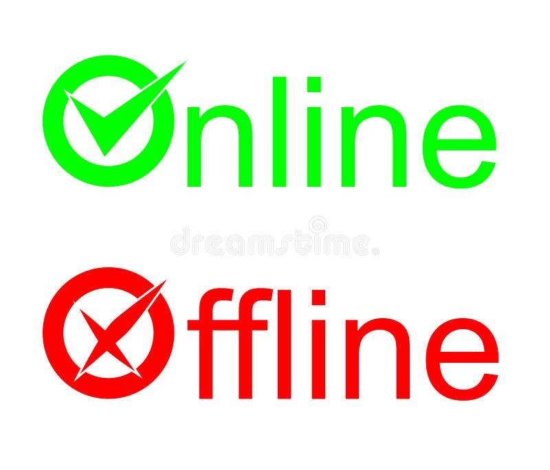 On-line off-$l*line σημάδι ελεύθερη απεικόνιση δικαιώματος