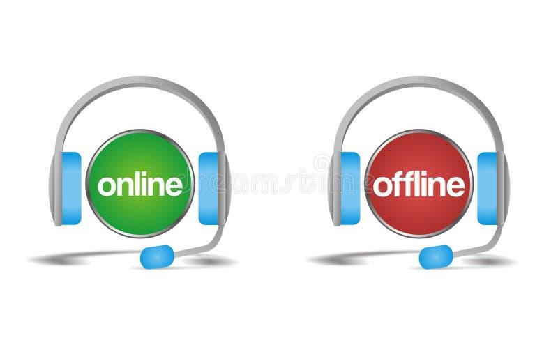 On-line off-$l*line συνομιλία, υποστήριξη, εικονίδιο βοήθειας απεικόνιση αποθεμάτων