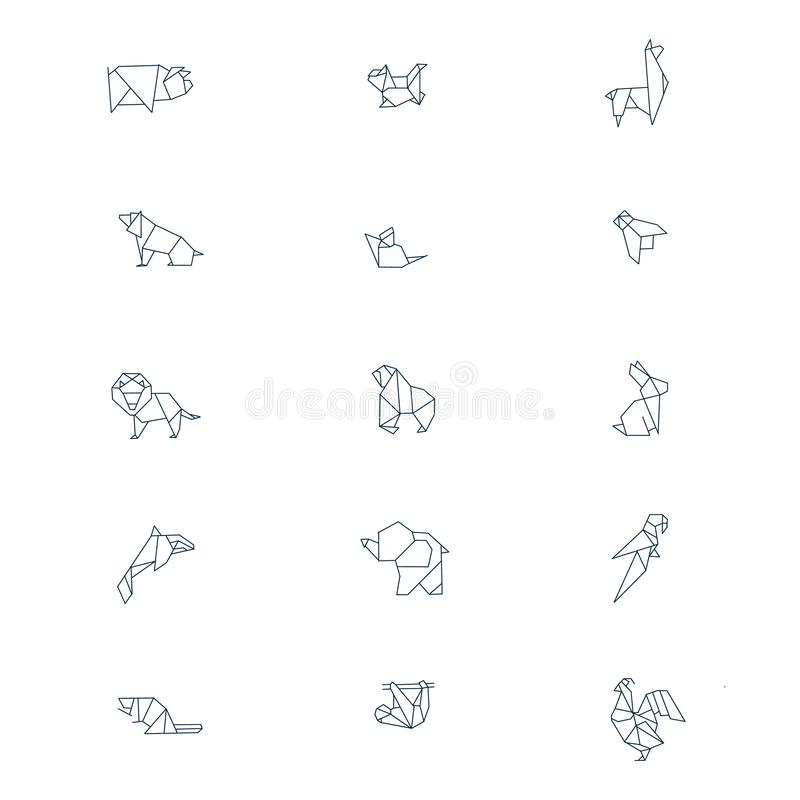 Line origami animals. Abstract polygon animals. Folded paper shapes, modern japan design templates. Vector animal icons set royalty free illustration