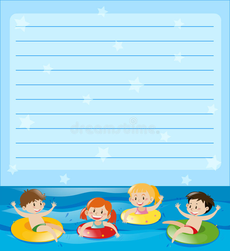 Line paper with kids swimming. Illustration vector illustration