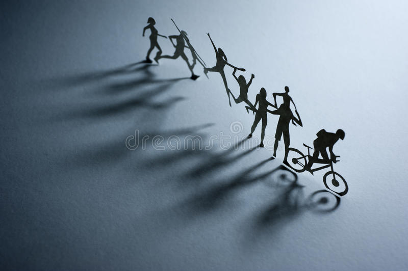 Download Line of Paper People stock image. Image of running, symbol - 26945861