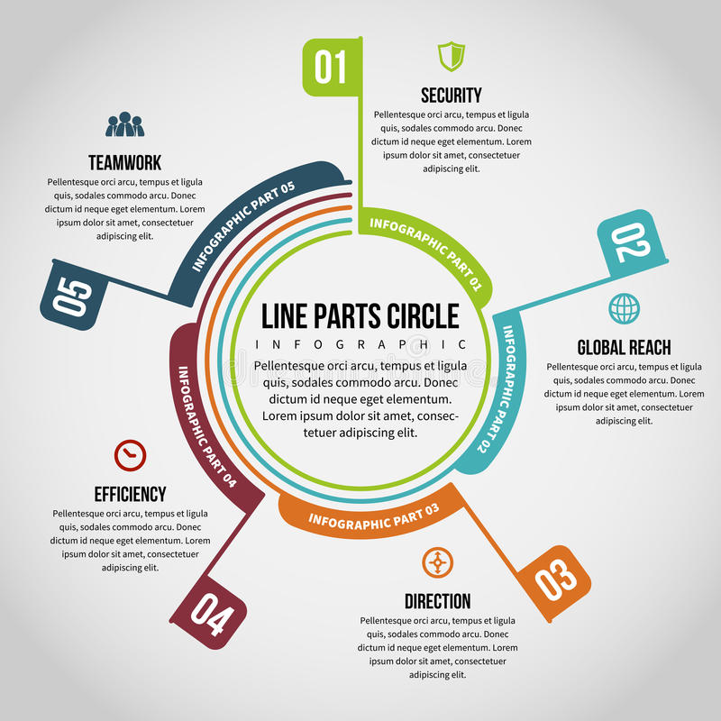 Line Parts Circle Infographic. Vector illustration of line parts circle infographic design element royalty free illustration