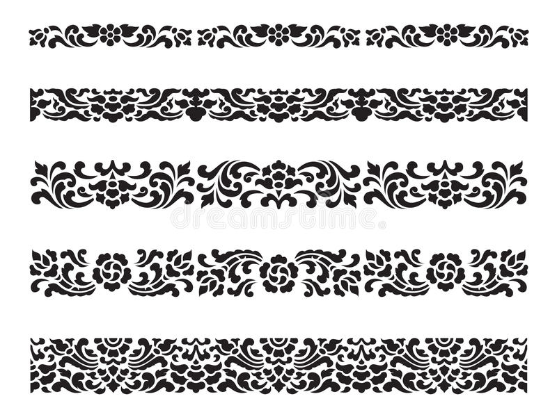 Line pattern Asian traditional art Design Vector set, Thai traditional design (Lai Thai pattern) vector illustration