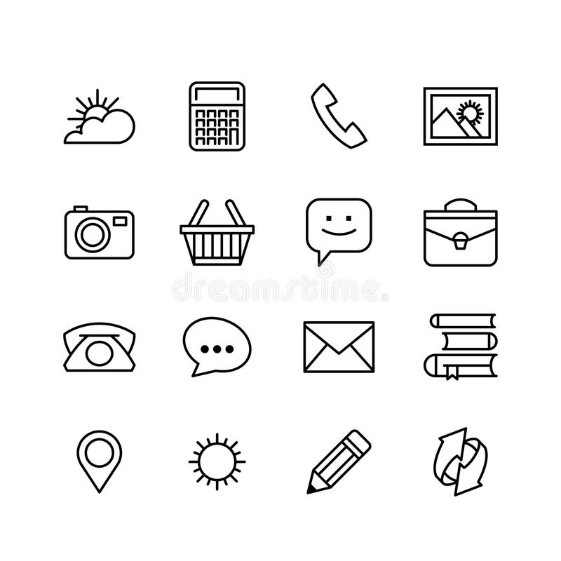Line phone icons set. Icons for business stock illustration