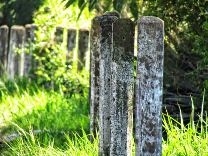A line of pillars stock photo