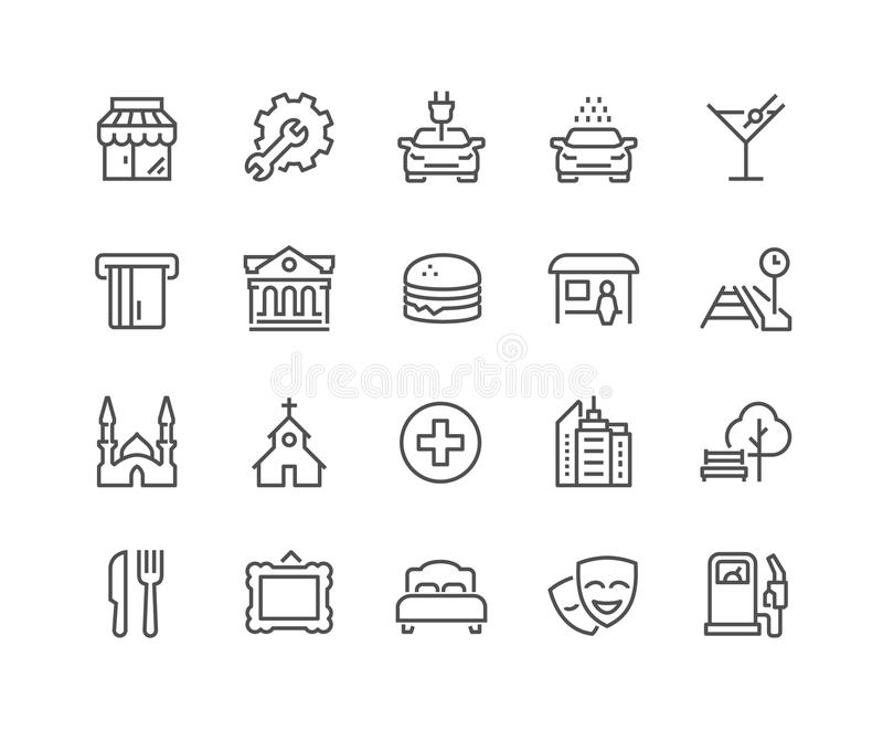 Line Points of Interest Icons. Simple Points of Interest Related Vector Line Icons. Contains such Icons as Food, Park, Museum, Hotel, Hostel, Bus Stop, Railway royalty free illustration