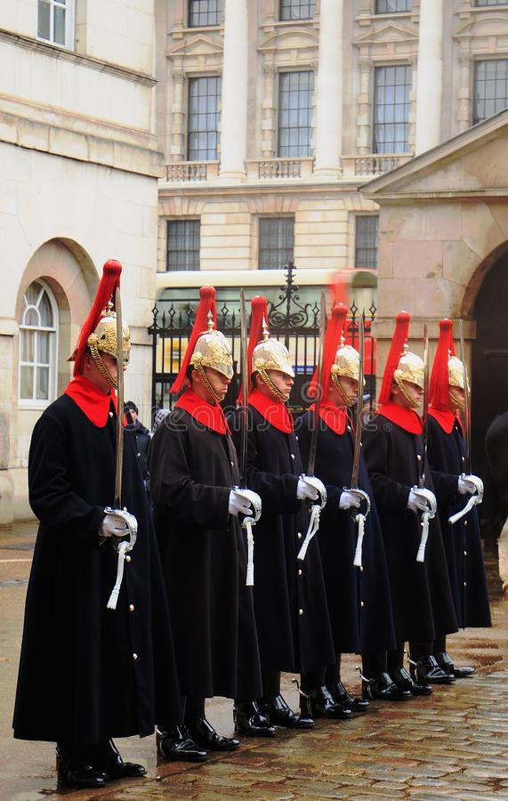 HThe Queens Household Cavalry on parade outside Horse Guards Parade, London, 2018 stock photography