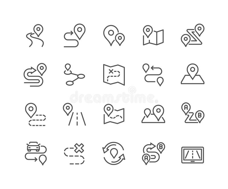 Line Route Icons. Simple Set of Route Related Vector Line Icons. Contains such Icons as Map with a Pin, Route map, Navigator, Direction and more. Editable Stroke vector illustration