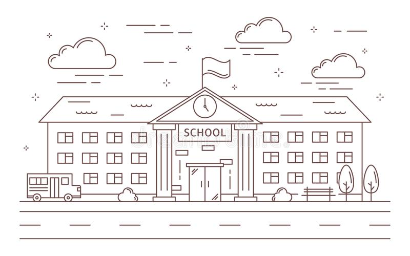 Line school building. royalty free illustration