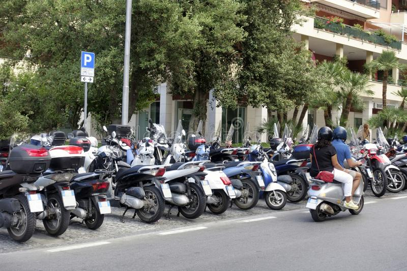 Line of scooters on the street in Sorento stock image