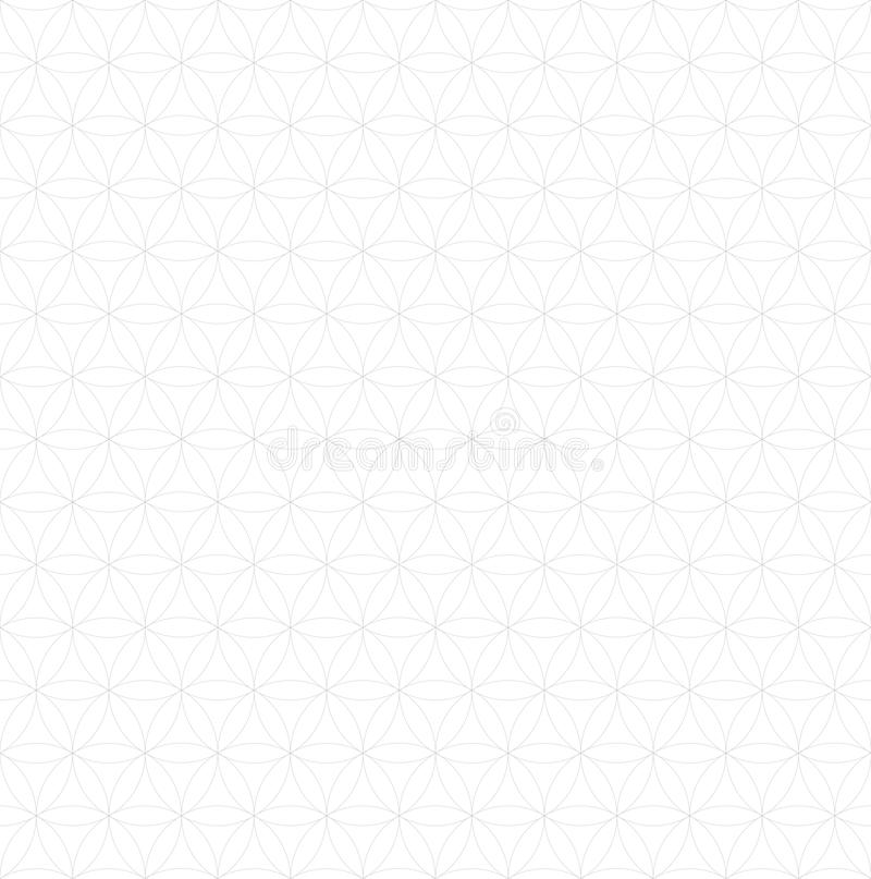 Line seamless flower of life pattern - sacred geometry background - most magical pattern on the world.  royalty free illustration