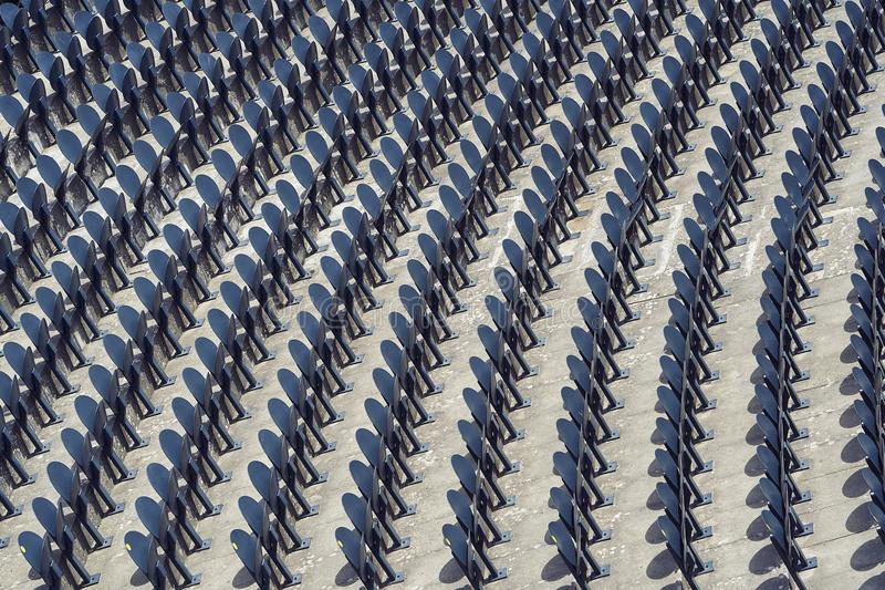 Line of seats in a stadium.  stock images