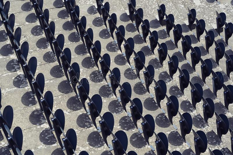 Line of seats in a stadium.  royalty free stock photography