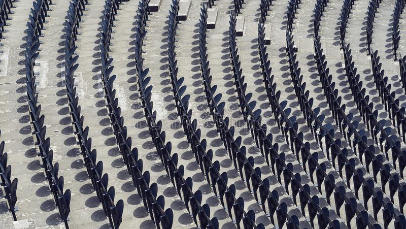 Line of seats in a stadium.  royalty free stock image