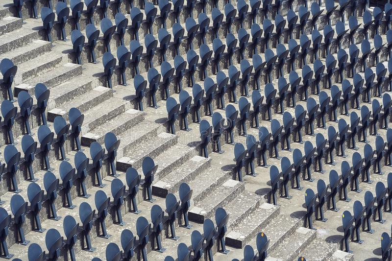 Line of seats in a stadium.  royalty free stock images