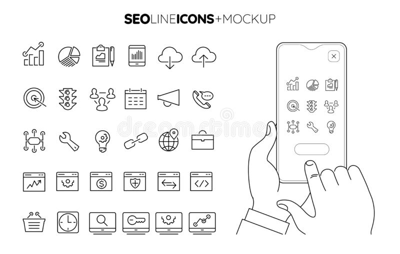 Line SEO icon set with line hands holding smartphone mockup stock images