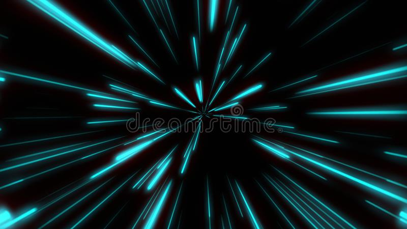 Line shape Neon Blue and Red Light dark Streaks Simple.Cyber Futuristic Speed zoom Motion graphic.Backdrop beam blur Flare. Abstract Light fast night Background stock illustration