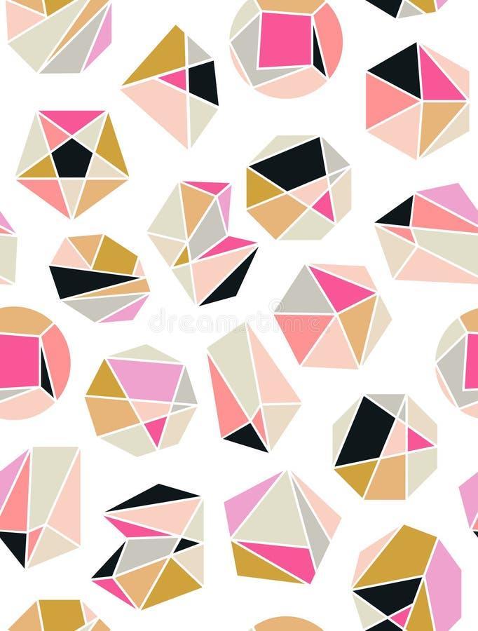 Line shapes crystal geometry. Diamonds design. Alchemy, religion, philosophy, spirituality, hipster symbols and elements. stock illustration